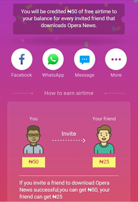 invite on opera news for free unlimited airtime