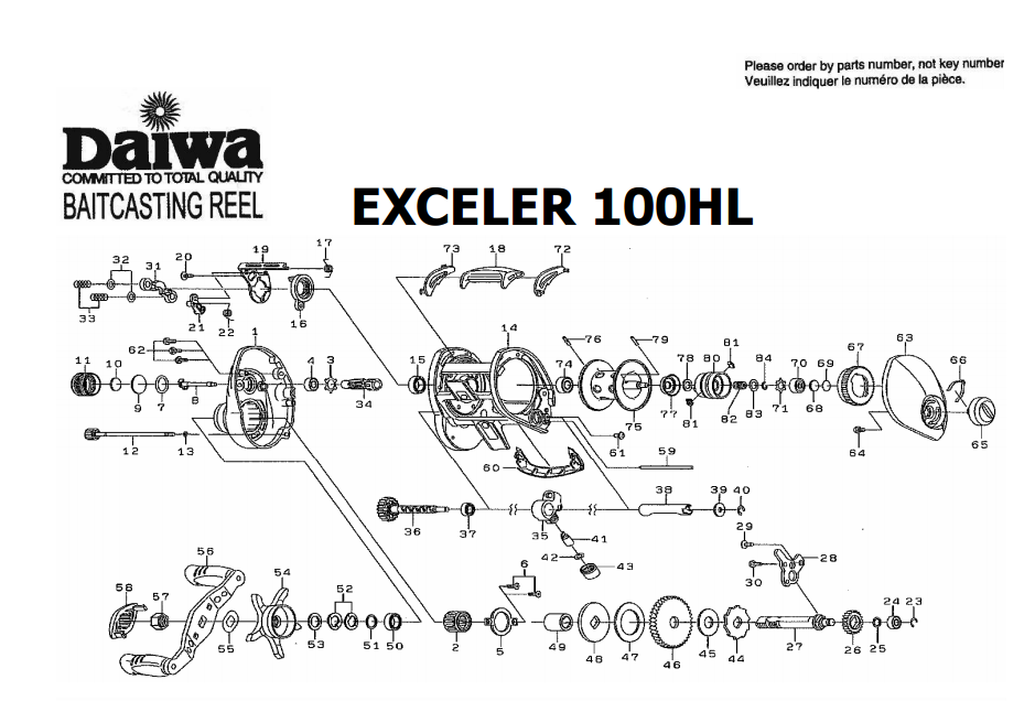 daiwa exceler 100 schematics ( old model ) | most complete ... on