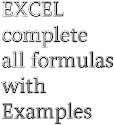 Excel complete all formulas with examples