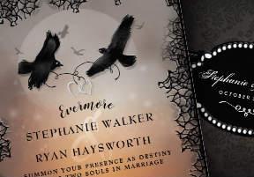 Ravens Evermore Halloween Wedding Invitation Template