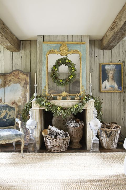 image result for beautiful room fireplace French Marie Antoinette baskets decorated for Christmas elegant sophisticated interior design