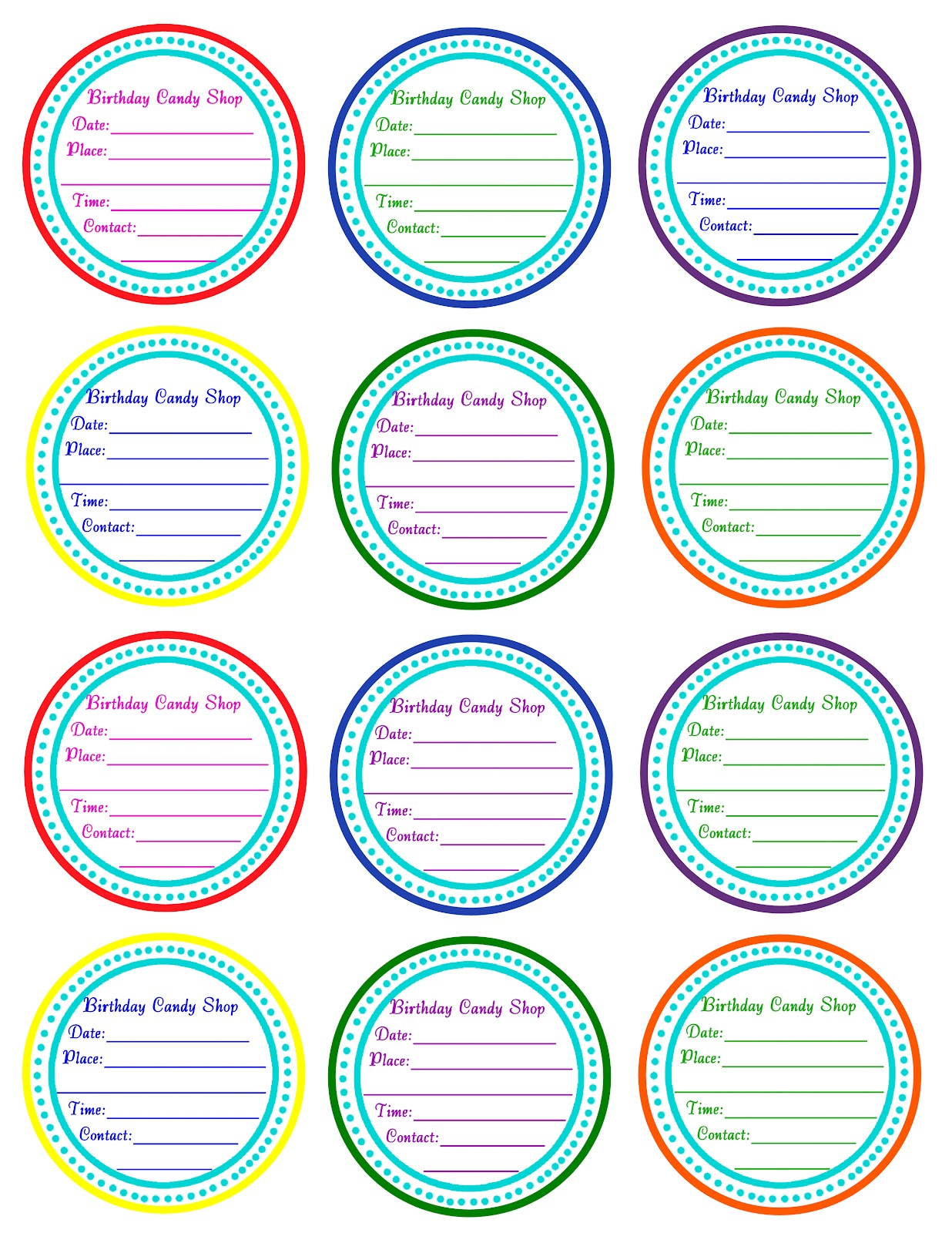 Scrap N Teach Kiralena S 4th Rainbow Candyland Birthday Free Printables
