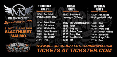 FM at Melodic Rock Fest Scandinavia - 1 June 2018 - poster