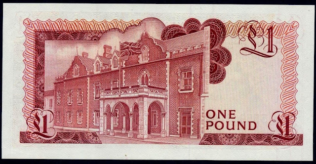 Gibraltar money currency 1 Pound banknote 1988 Governor's residence