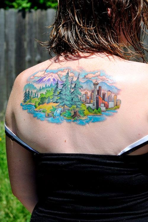 3D Nature Mountain Scene Tattoo