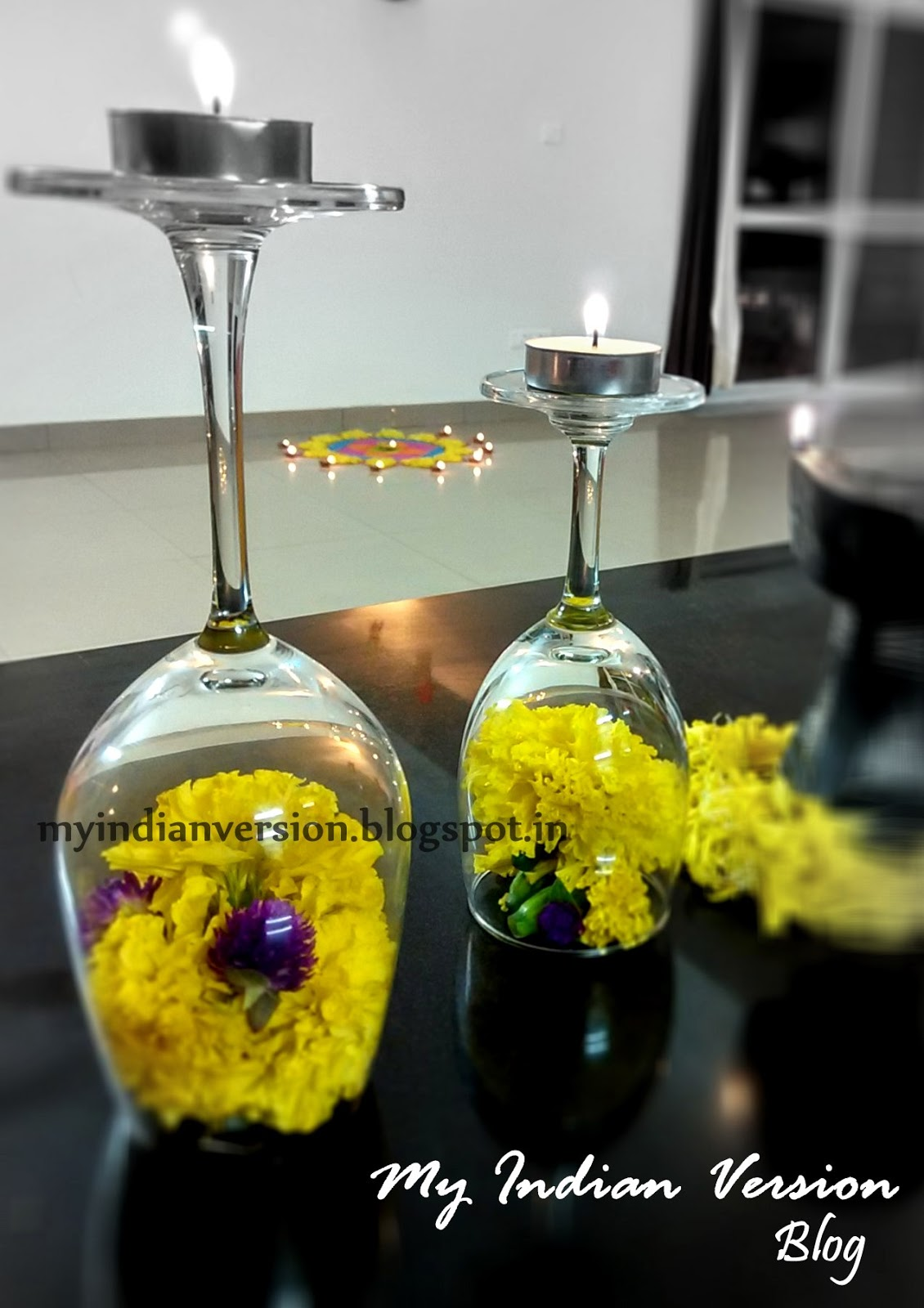 Giant Wine Glass Decorations My Indian Version Diwali Festival Decorations At My Home
