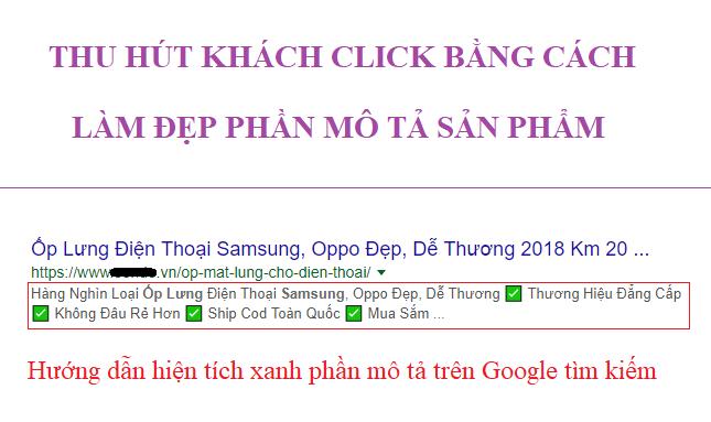 Chèn tích xanh mô tả sản phẩm trong Opencart để làm nổi bật trên Google tìm kiếm