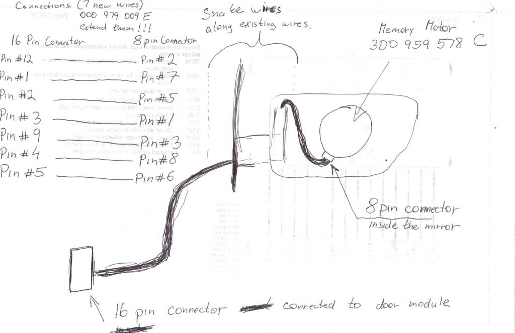 then you can run 7 new wires from 8pin mirror motor connector to 16pin mirror  harness connector  just follow the diagram and you cant get it wrong