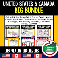 World Geography United States and Canada Bundle, Anchor Charts, Games, Guided Notes, Digital Choice Boards, Google Classroom, Word Walls