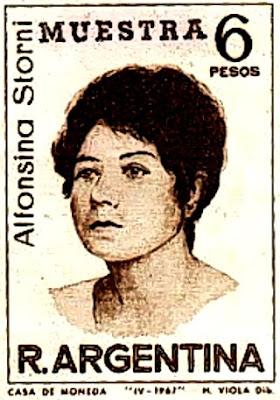Imagen de Alfonsina Storni en una estampilla