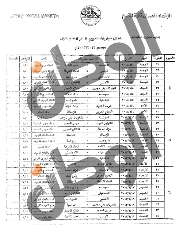 جدول الدوري المصري 2012