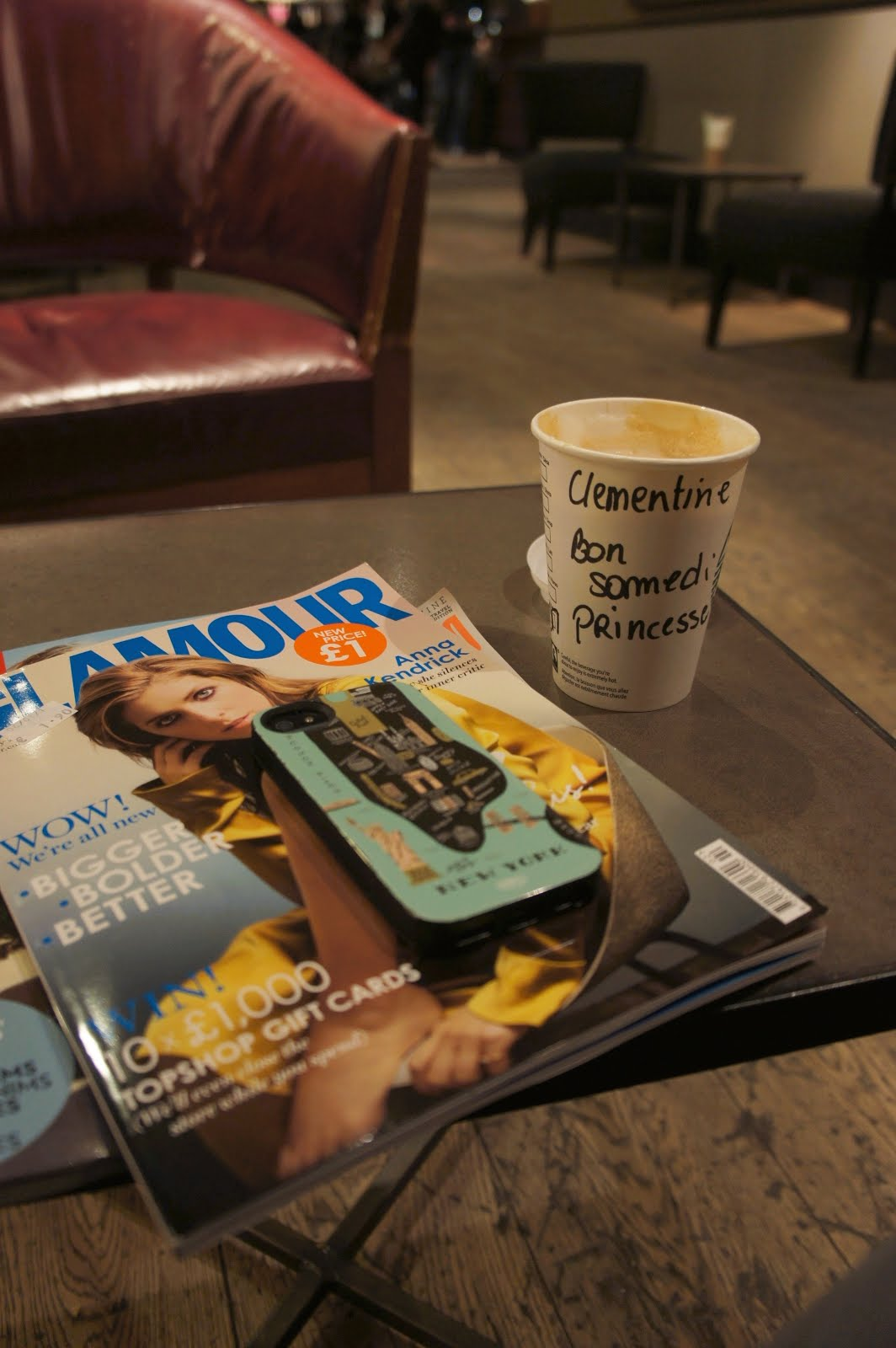 Saturday mornings at Starbucks with my favourite magazines, Glamour UK, Red UK and God Housekeeping. Starbucks Cup, caramel latte, bon samedi princesse