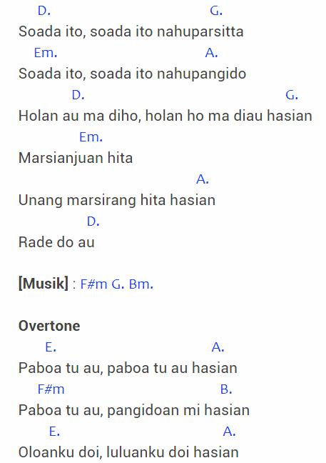 Chord Rade Do Au : chord, Chord, Batak