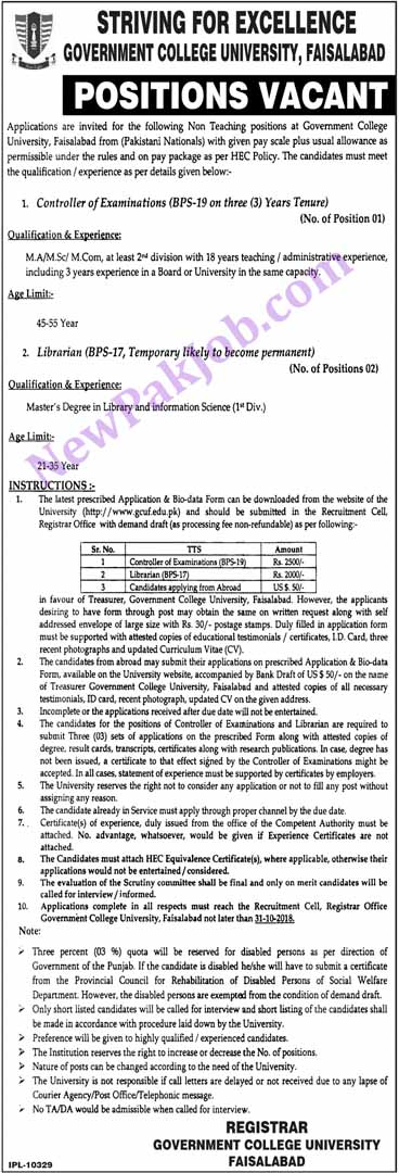 Govt Jobs Oct 2018 in Gc University Fasialabad