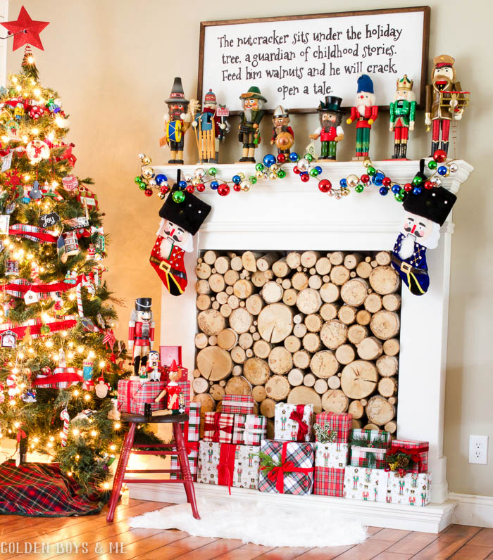 Nutcracker themed Christmas mantel decor with German collectible nutcrackers and DIY sign