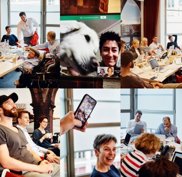Eine Collage von Bildern von Menschen bei einem Workshop