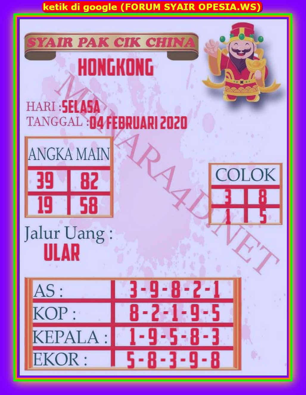 Kode syair Hongkong Selasa 4 Februari 2020 199