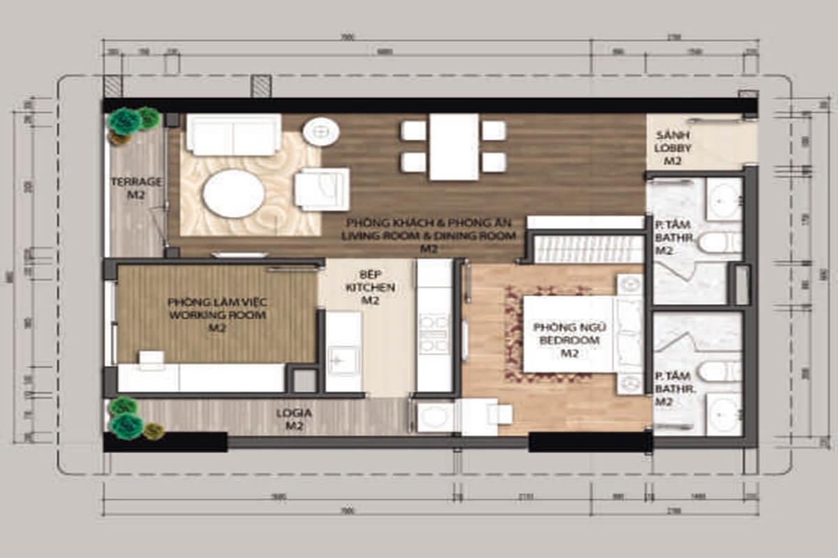 Mặt bằng căn hộ A3-1 phòng ngủ – 68.2m2