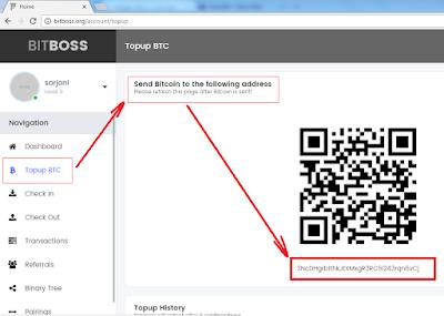 silakan Kirim bitcoin ke alamat yang tertera pada Akun anda