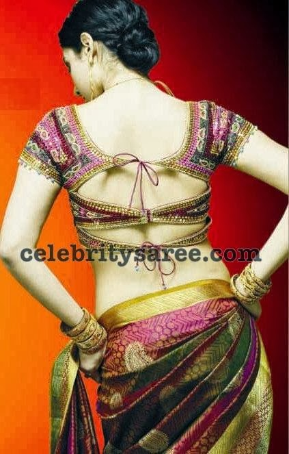 silk saree with knot type back neck blouse