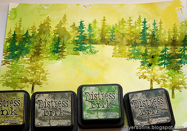 Layers of ink - Forest Layout by Anna-Karin Evaldsson. Stamping the forest.