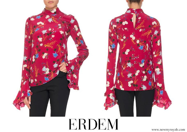 Crown-Princess Mary wore ERDEM Lindsey Floral Mock Neck Ruffle Sleeve Top