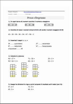 Verifiche Matematica Scuola Primaria Prova Dingresso Classe Terza