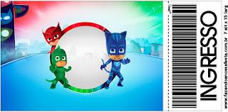 Tarjeta con forma de Ticket de Super Héroes en Pijamas.