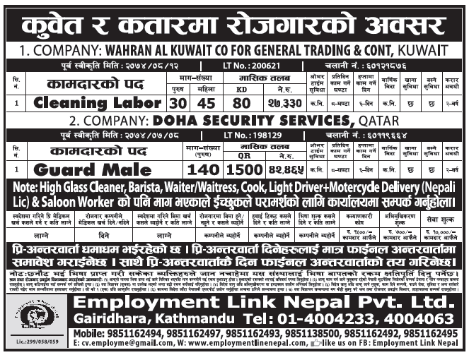Jobs in Kuwait for Nepali, Salary Rs 42,465