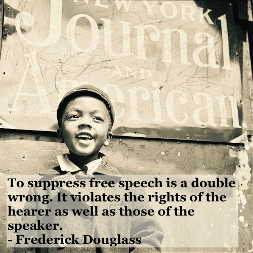 Photo of young black child smiling in front of the New York Journal  building. c 1950s Free speech quote by Fredrick Douglass. Other stories of Racism and Civil Rights. Mr. Douglass has more to say. marchmatron.com