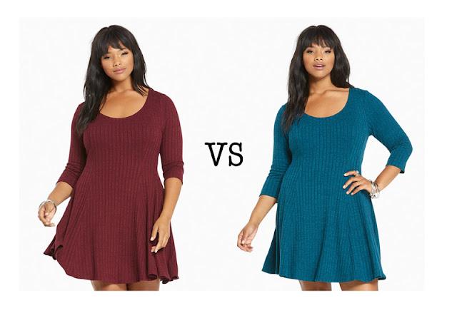 Модель Plus Size в бордовом и синем платье