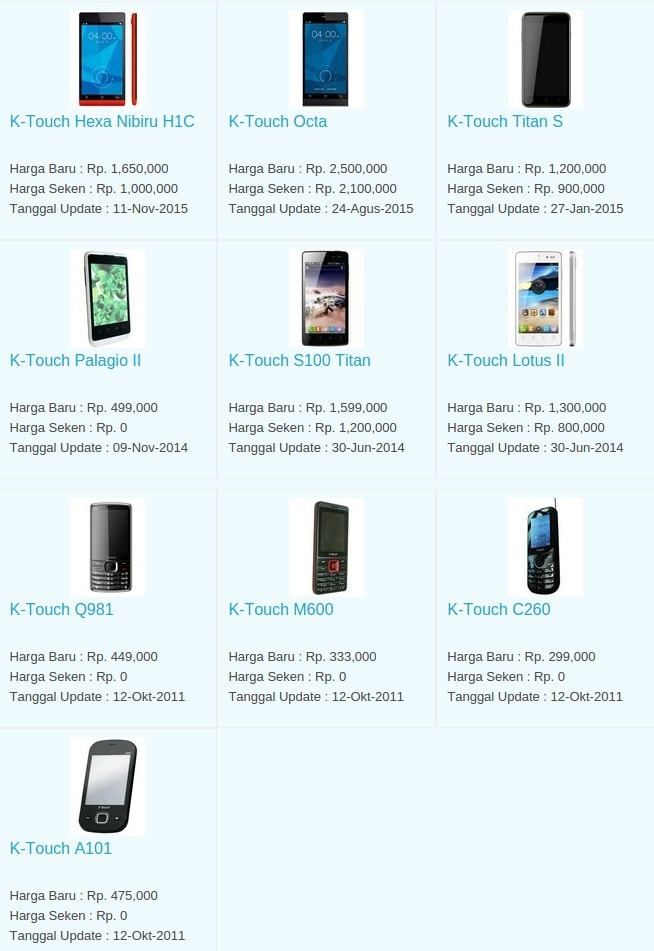Daftar Harga Hp Terbaru K-Touch Juni 2016