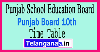 PSEB 10th Exam Time Table 2018