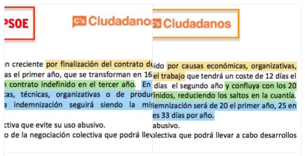 PSOE y Ciudadanos publican dos versiones distintas del pacto