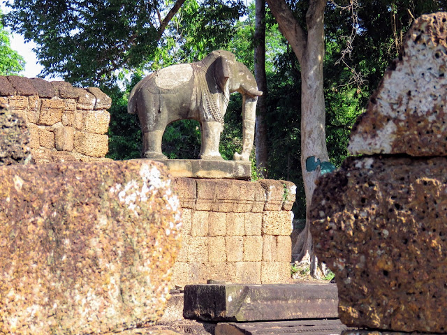 Elephant sculpture at Eastern Mebon temple near Angkor in Cambodia