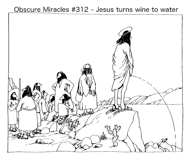 Funny Obscure Jesus Miracles - Jesus turns wine into water cartoon joke picture