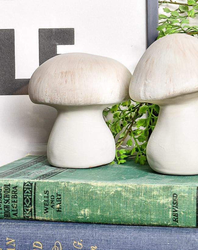 DIY Concrete inspired dollar tree mushrooms