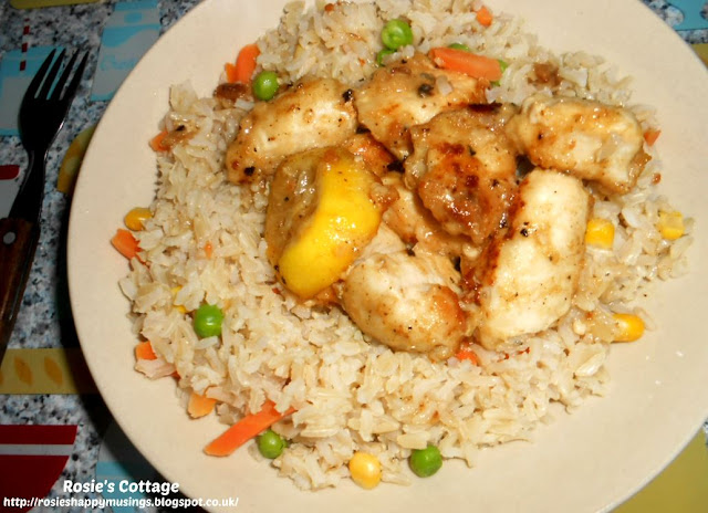 Rosie's Luscious Lemon Chicken - serve your delicious lemony chicken pieces with warm, fluffy rice and vegetables.