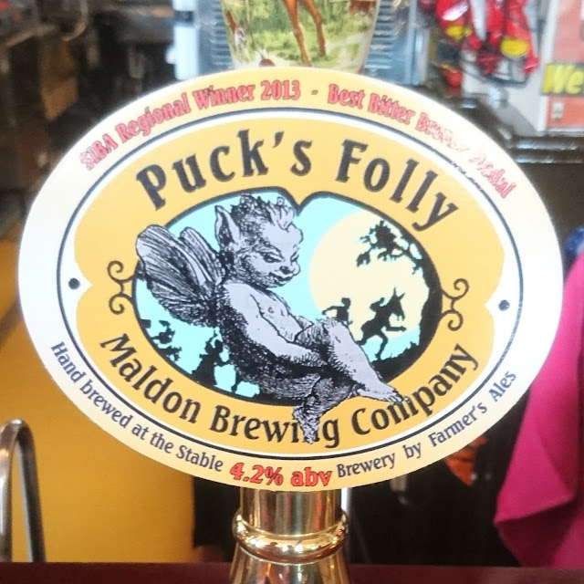 Essex Craft Beer Review: Puck's Folly from Maldon Brewing Company real ale pump clip