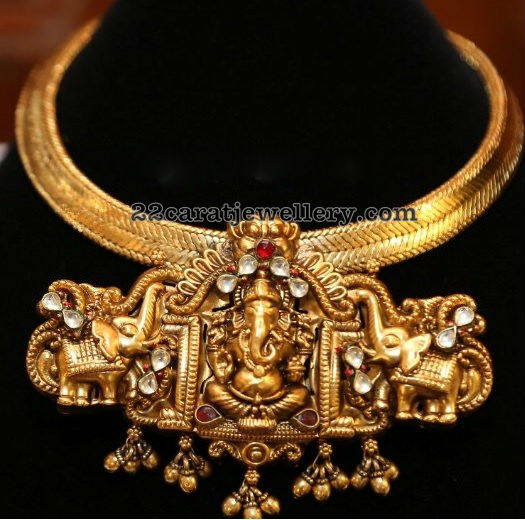 Antique Ganesh Pendant with Elephants