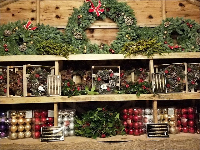 Christmas wreaths, baubles and mistletoe at Pines and Needles pop up