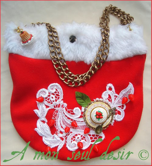 Sac Kawaii Gourmand Gâteau à la Fraise Charlotte aux fraises Cupcake Muffin Gourmandise sweet lolita yummy strawberries hand bag