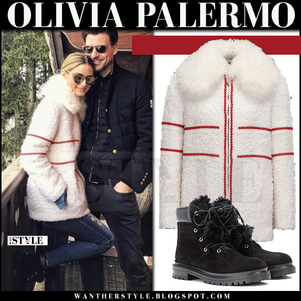 Olivia Palermo in white fur collar red stripe coat moncler gamme rouge ski resort what she wore march 2017