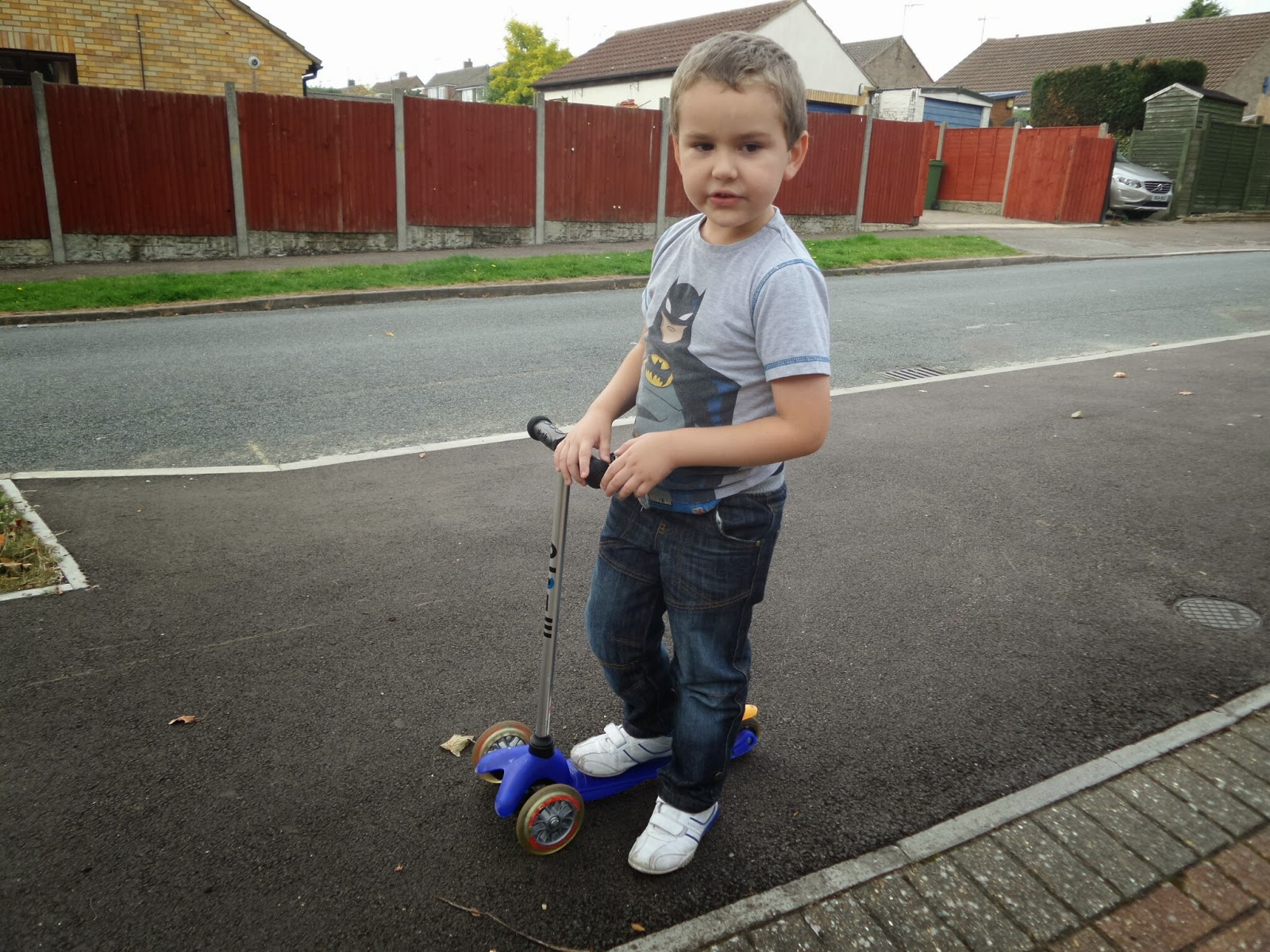 Big Boy scooting outside