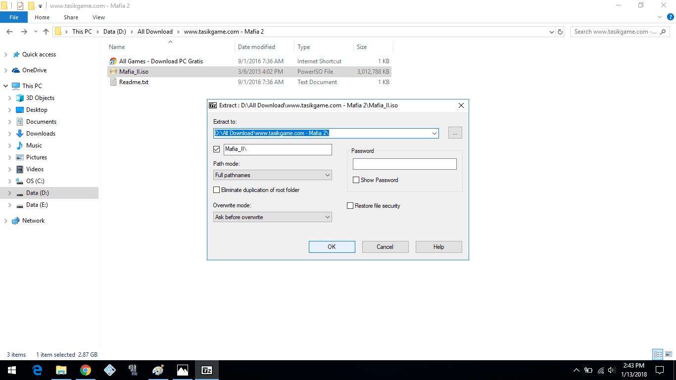 lokasi extract file 7-zip