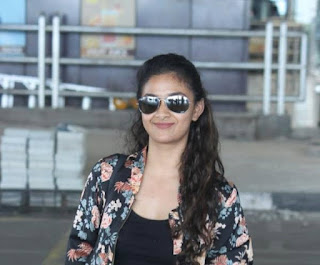 Keerthy Suresh in Black Dress with Cute and Awesome Smile at Hyderabad AirPort
