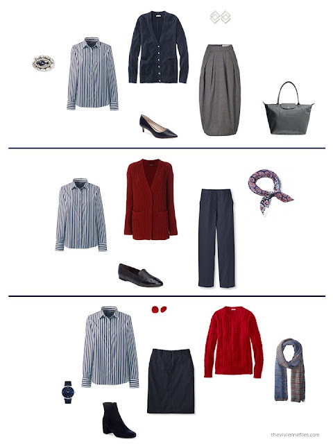 3 ways to wear a navy and white striped shirt from a capsule wardrobe