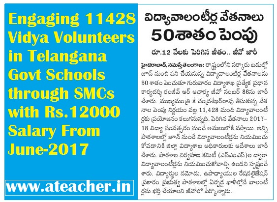 Engaging 11428 Vidya Volunteers in Telangana (TS) Govt Schools through SMCs with Rs.12000 Salary From June-2017