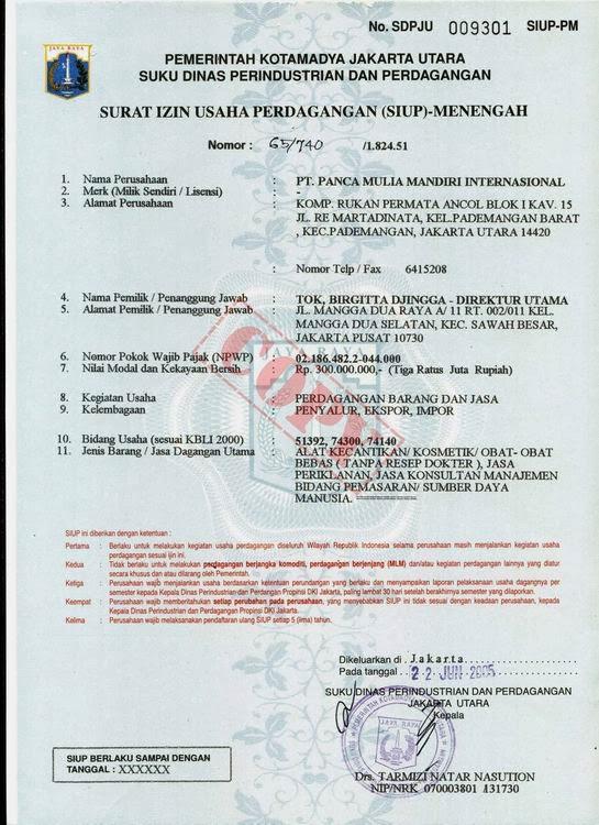 Welcome to My Blog : Contoh Dokumen Legalitas Perizinan Usaha