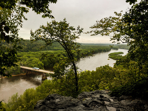 View of St Croix National Scenic River from Eagle Bluff in Osceola WI